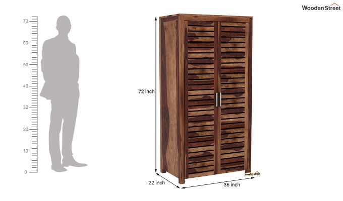 Lynet 2 Door Multi Utility Wardrobe (Teak Finish)-6