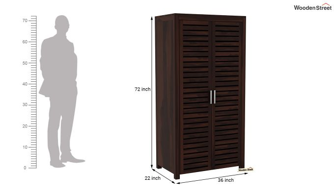 Lynet 2 Door Multi Utility Wardrobe (Walnut Finish)-6