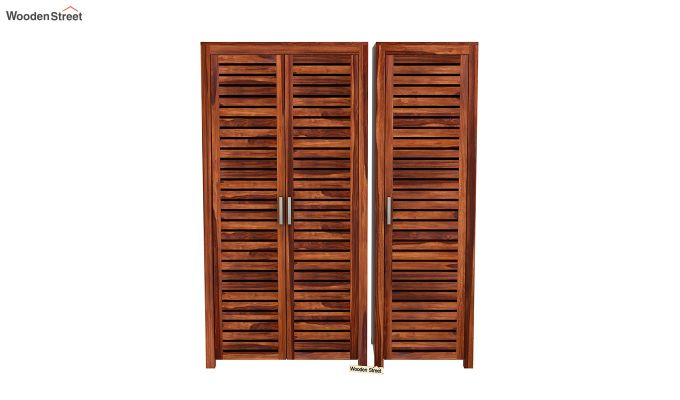 Lynet 3 Door Multi Utility Wardrobe (Honey Finish)-3