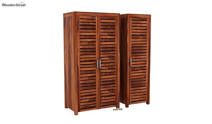 Lynet 3 Door Multi Utility Wardrobe (Honey Finish)-4