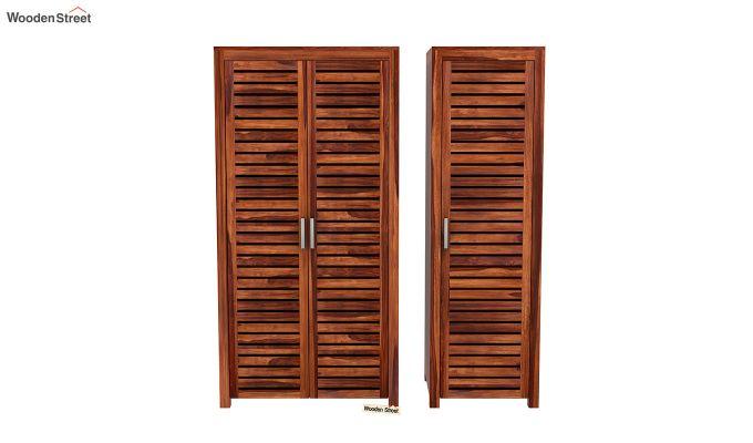 Lynet 3 Door Multi Utility Wardrobe (Honey Finish)-5