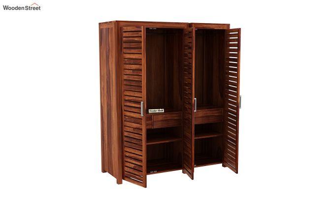 Lynet 3 Door Multi Utility Wardrobe (Honey Finish)-6