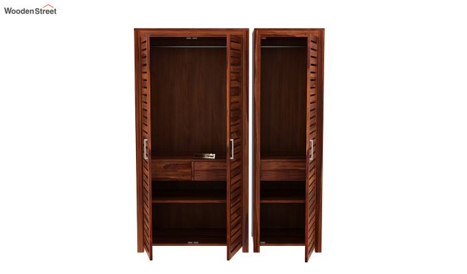 Lynet 3 Door Multi Utility Wardrobe (Honey Finish)-7