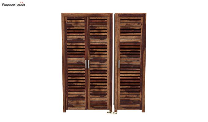 Lynet 3 Door Multi Utility Wardrobe (Teak Finish)-3