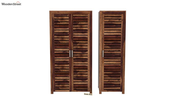Lynet 3 Door Multi Utility Wardrobe (Teak Finish)-5