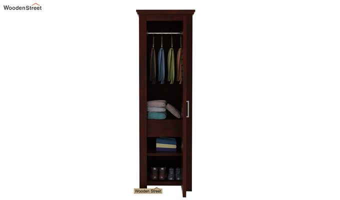 Lynet 1 Door Multi Utility Wardrobe (Mahogany Finish)-3