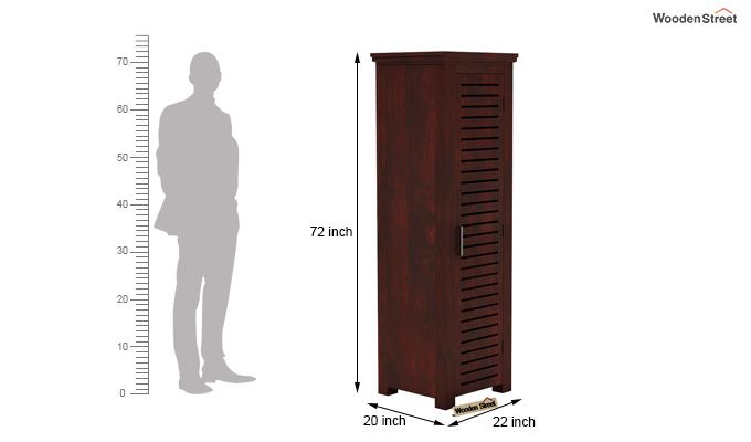 Lynet 1 Door Multi Utility Wardrobe (Mahogany Finish)-4