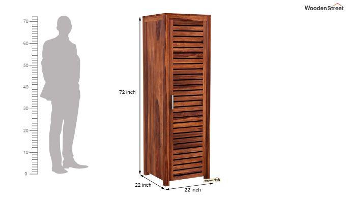 Lynet 1 Door Multi Utility Wardrobe (Honey Finish)-6