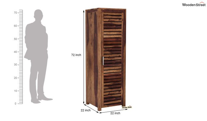 Lynet 1 Door Multi Utility Wardrobe (Teak Finish)-6