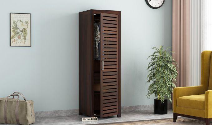 Lynet 1 Door Multi Utility Wardrobe (Walnut Finish)-1