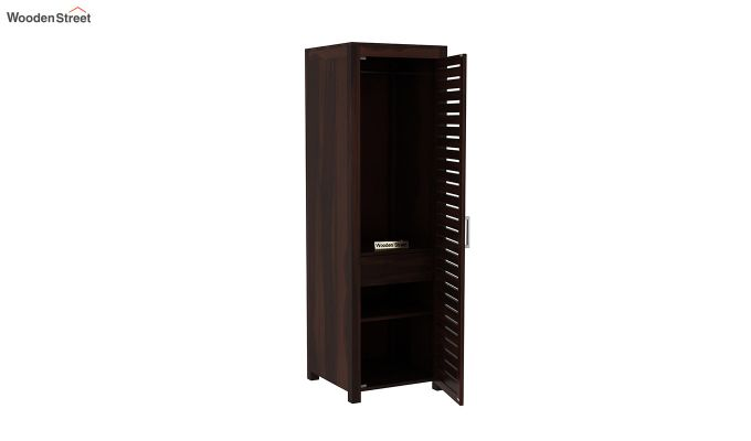 Lynet 1 Door Multi Utility Wardrobe (Walnut Finish)-4
