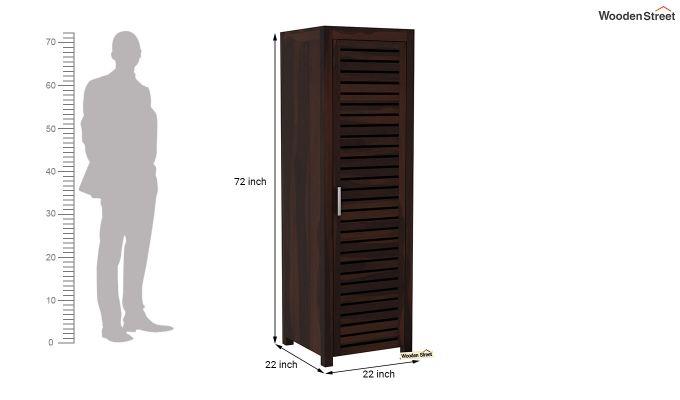 Lynet 1 Door Multi Utility Wardrobe (Walnut Finish)-6