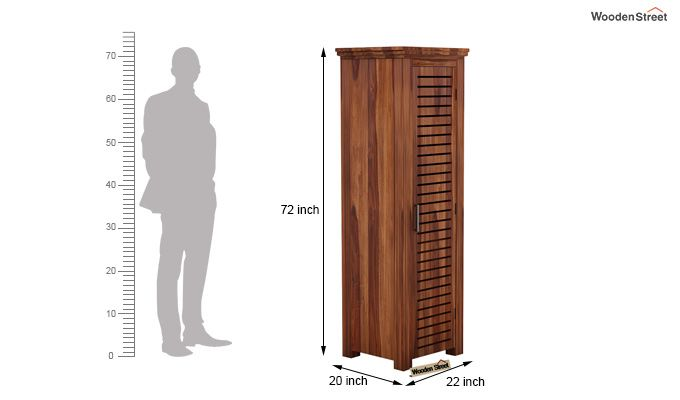 Lynet 1 Door Multi Utility Wardrobe (Teak Finish)-4