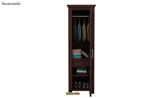 Lynet 1 Door Multi Utility Wardrobe (Walnut Finish)-3