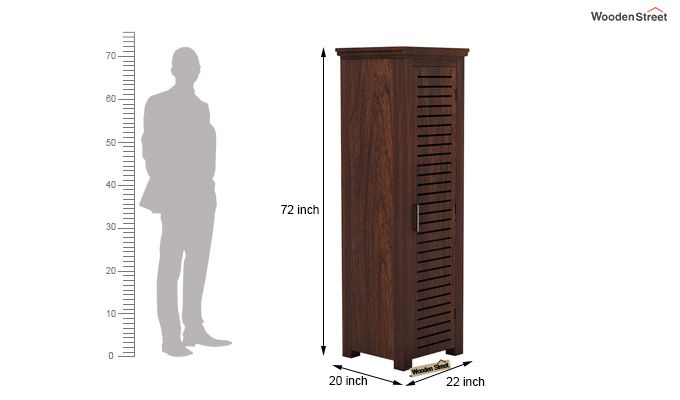 Lynet 1 Door Multi Utility Wardrobe (Walnut Finish)-4