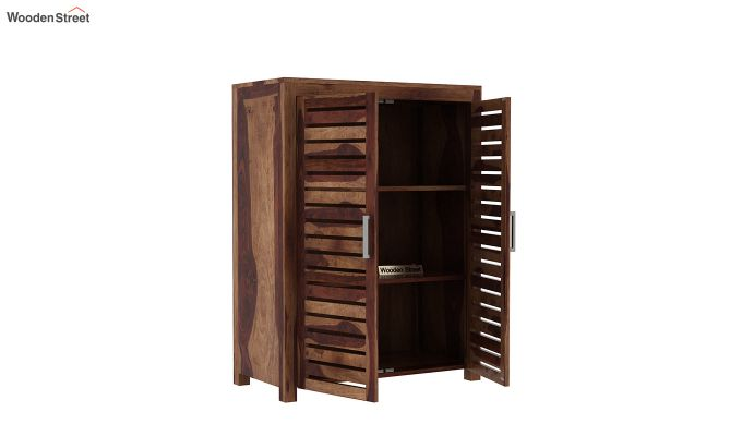 Lynet Small Size Wardrobe (Teak Finish)-4