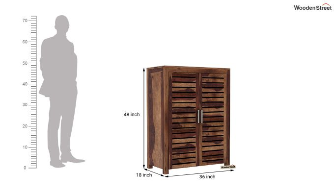 Lynet Small Size Wardrobe (Teak Finish)-6