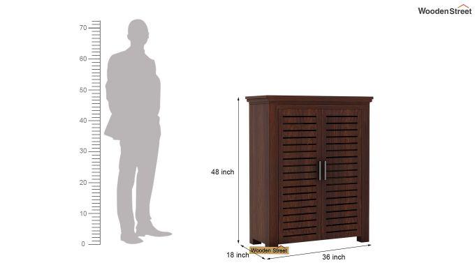Lynet Small Size Wardrobe (Walnut Finish)-4