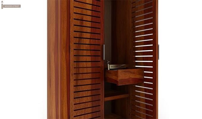 Lynet Multi Utility Wardrobe (Honey Finish)-5
