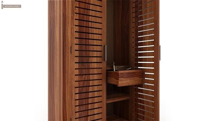 Lynet Multi Utility Wardrobe (Teak Finish)-5