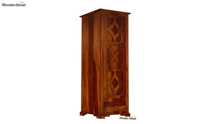 Martin 1 Door Multi Utility Wardrobe (Honey Finish)-2