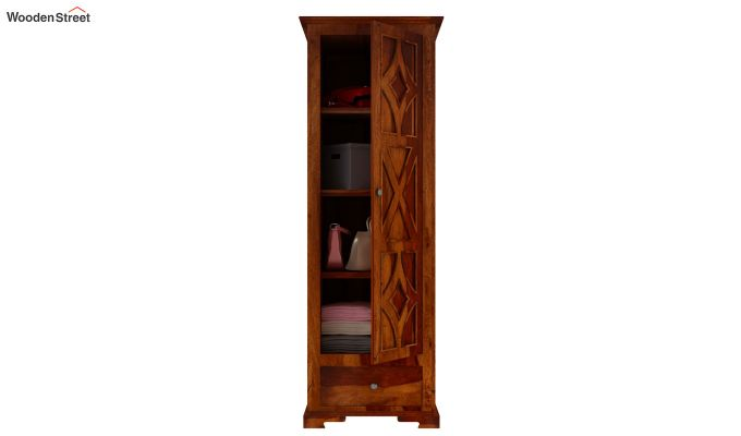 Martin 1 Door Multi Utility Wardrobe (Honey Finish)-5