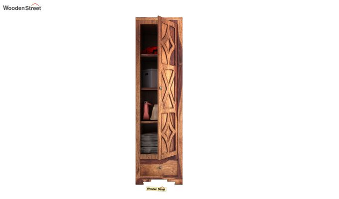 Martin 1 Door Multi Utility Wardrobe (Teak Finish)-5