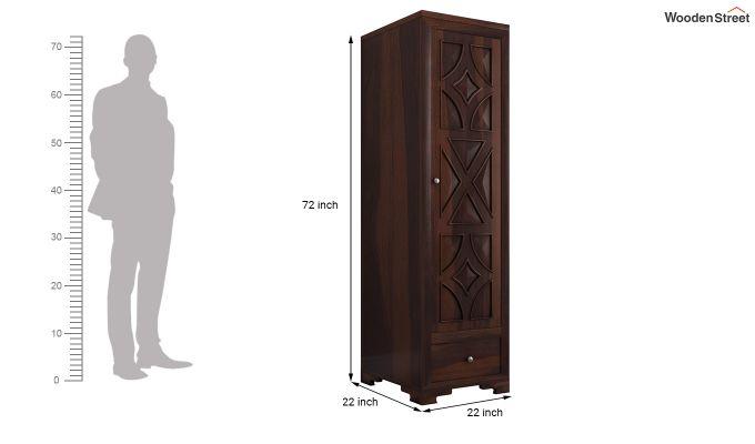 Martin 1 Door Multi Utility Wardrobe (Walnut Finish)-6