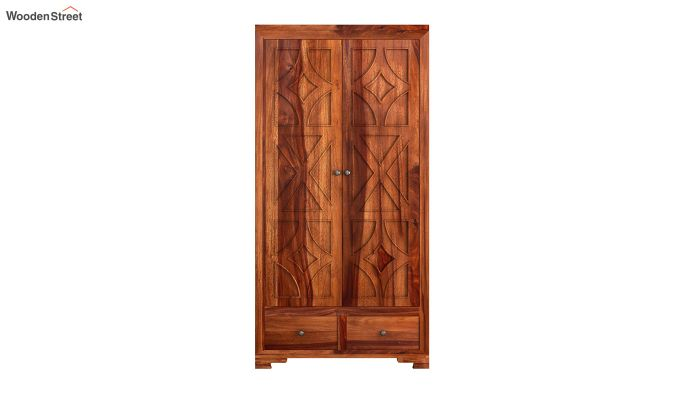 Martin 2 Door Multi Utility Wardrobe (Honey Finish)-3