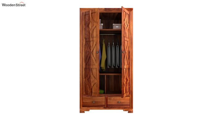 Martin 2 Door Multi Utility Wardrobe (Honey Finish)-4