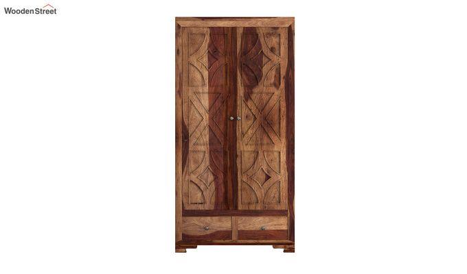 Martin 2 Door Multi Utility Wardrobe (Teak Finish)-3