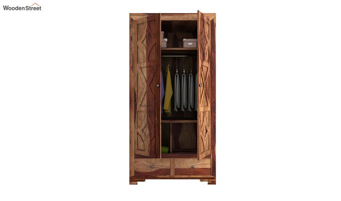 Martin 2 Door Multi Utility Wardrobe (Teak Finish)-4
