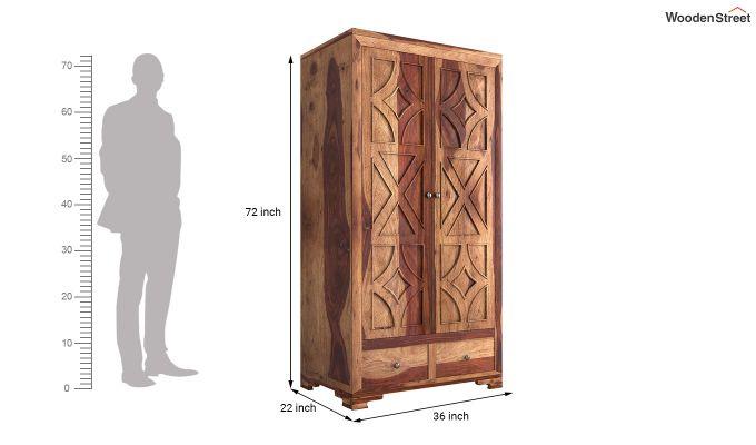 Martin 2 Door Multi Utility Wardrobe (Teak Finish)-6