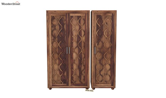 Montana 3 Door Multi Utility Wardrobe (Teak Finish)-3