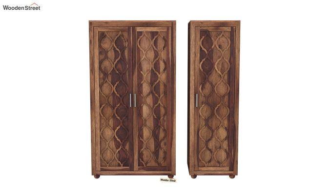 Montana 3 Door Multi Utility Wardrobe (Teak Finish)-5