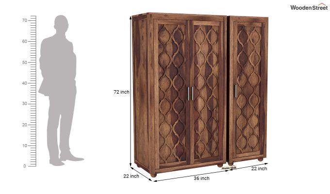 Montana 3 Door Multi Utility Wardrobe (Teak Finish)-8