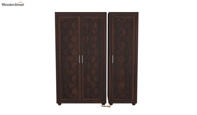 Montana 3 Door Multi Utility Wardrobe (Walnut Finish)-3