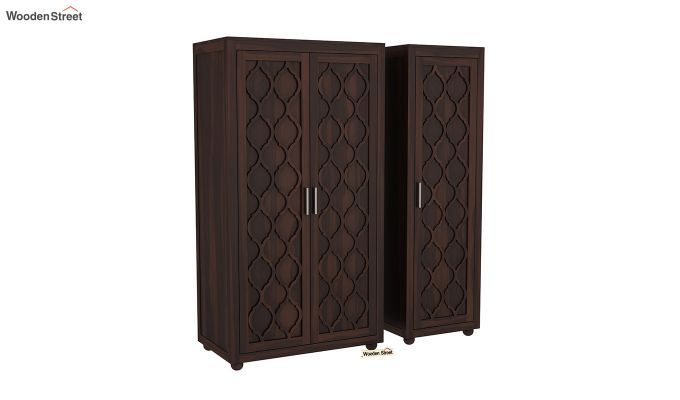 Montana 3 Door Multi Utility Wardrobe (Walnut Finish)-4