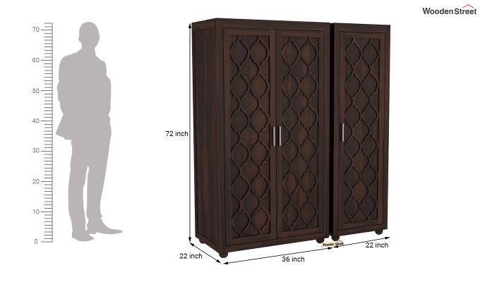 Montana 3 Door Multi Utility Wardrobe (Walnut Finish)-8