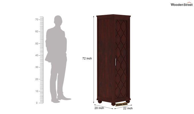 Montana 1 Door Multi-Utility Wardrobe (Mahogany Finish)-4