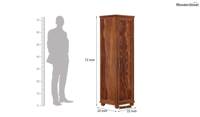 Montana 1 Door Multi-Utility Wardrobe (Teak Finish)-4