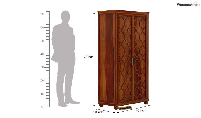 Montana 2 Door Multi-Utility Wardrobe (Honey Finish)-4