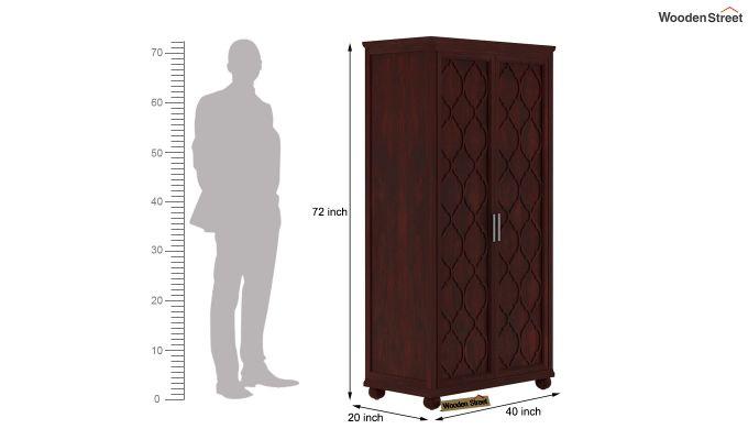 Montana 2 Door Multi-Utility Wardrobe (Mahogany Finish)-4