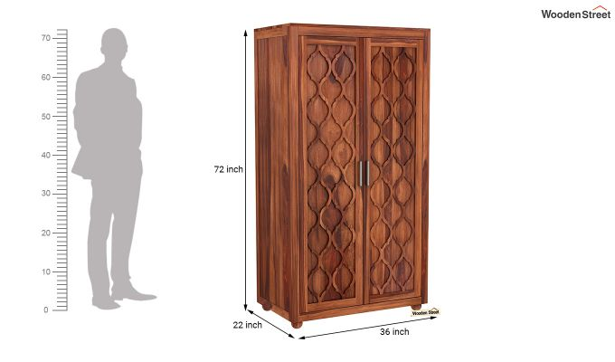 Montana 2 Door Multi-Utility Wardrobe (Honey Finish)-6