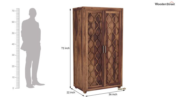Montana 2 Door Multi-Utility Wardrobe (Teak Finish)-6