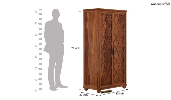Montana 2 Door Multi-Utility Wardrobe (Teak Finish)-4
