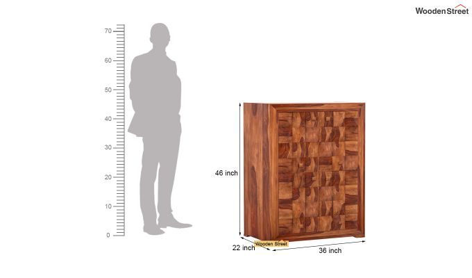 Morse Small Size Wardrobe (Teak Finish)-4