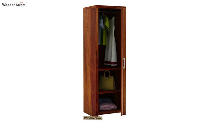 Neeson 1 Door Multi Utility Wardrobe (Honey Finish)-3