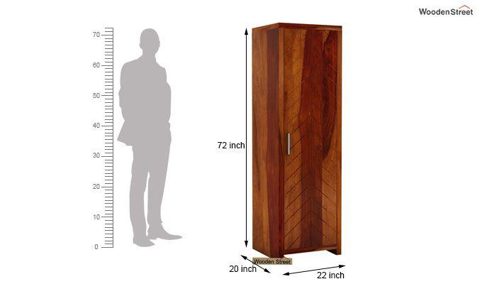 Neeson 1 Door Multi Utility Wardrobe (Honey Finish)-4
