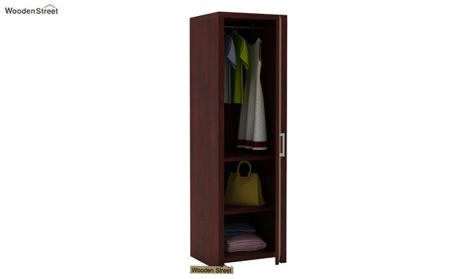 Neeson 1 Door Multi Utility Wardrobe (Mahogany Finish)-3